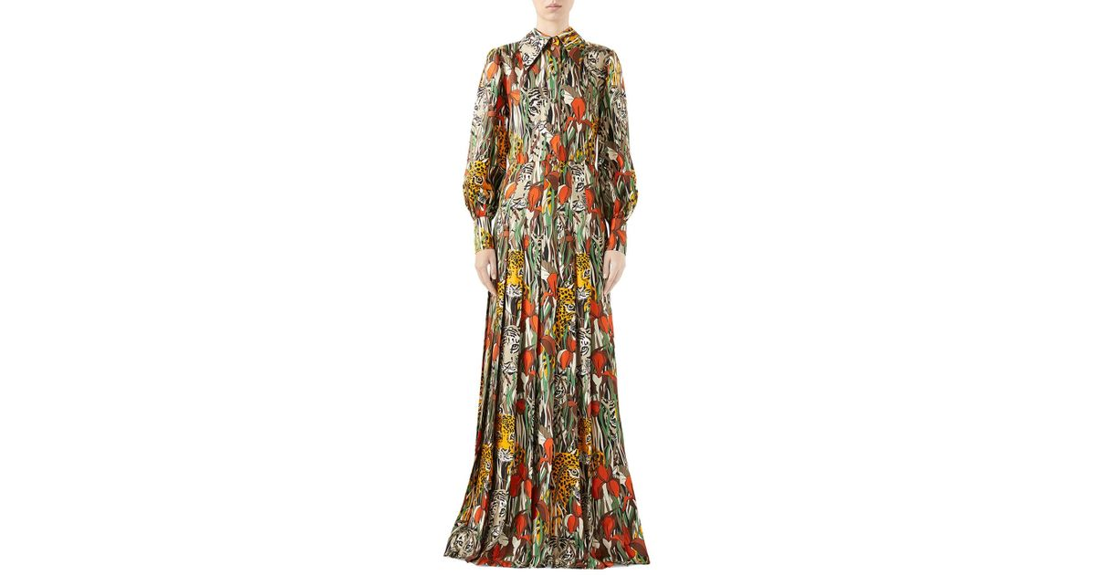 3544acf97657 Gucci Feline Garden Print Long Sleeve Silk Dress - Lyst