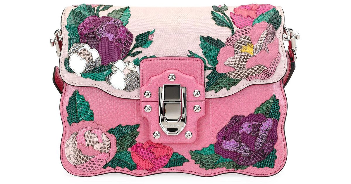 cc78bccad7a6 Lyst - Dolce   Gabbana Lucia Shoulder Bag In Calfskin And Ayers With  Appliqué Details in Pink