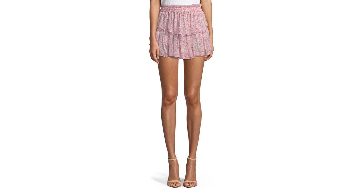 fd6ed3607 LoveShackFancy Tiered Ruffle Silk Mini Skirt in Red - Lyst