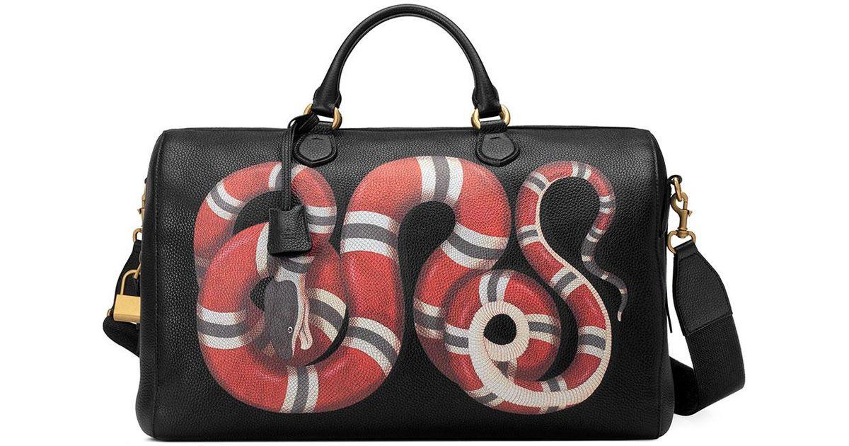 695cf46b8bf Gucci Men's King Snake-print Duffel Bag in Black for Men - Lyst