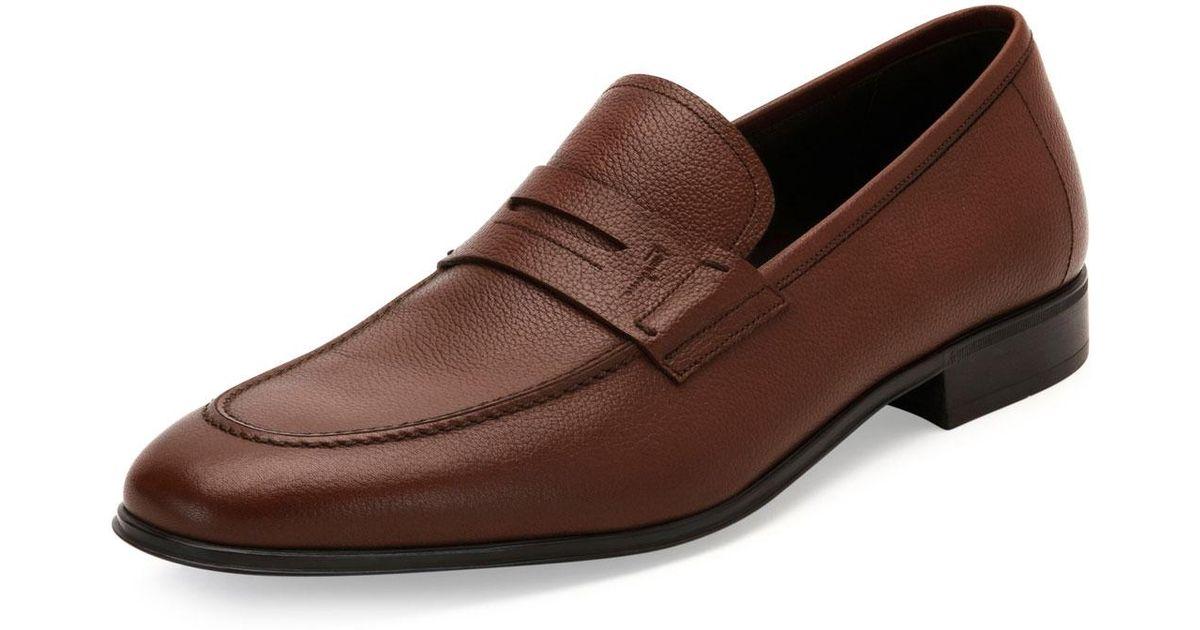 032ea97f0f9 Lyst - Ferragamo Fiorino 2 Textured Calfskin Penny Loafer in Brown for Men