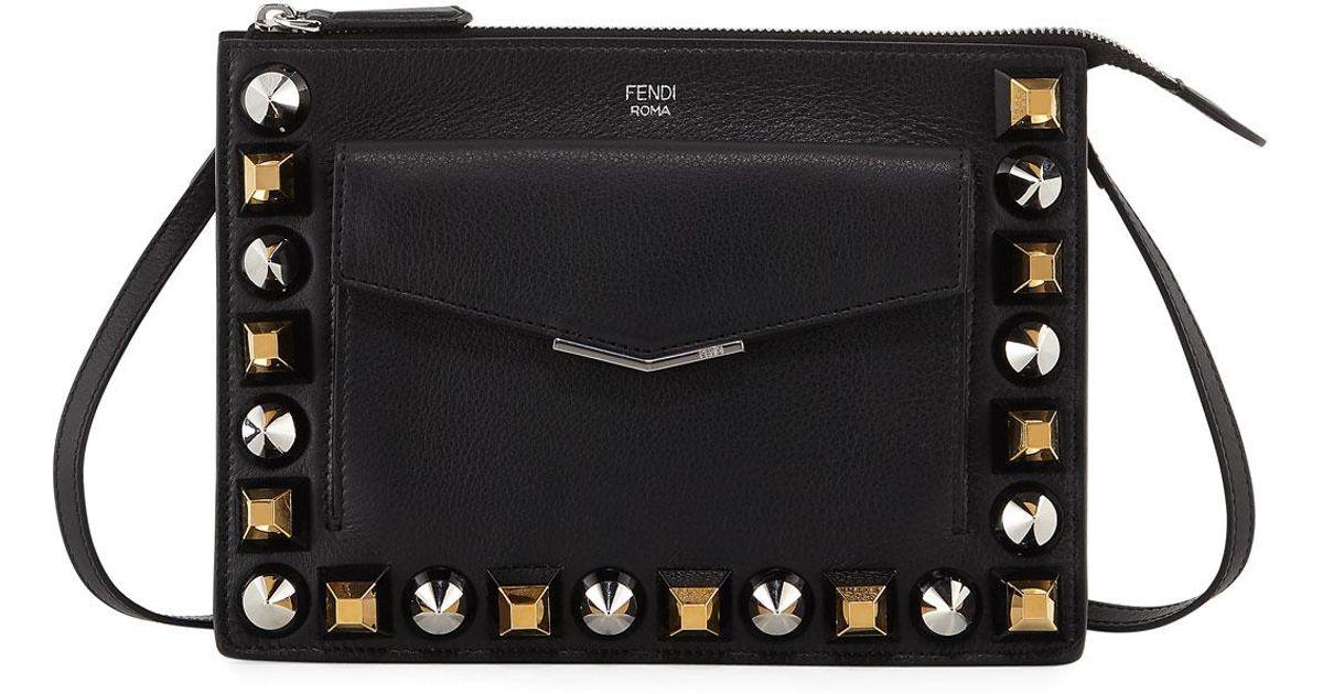 bbfc338412 Fendi - Black Mixed Stud Calf Leather Mini Pouch - Lyst