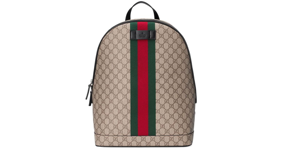 3a414764d Gucci Men's Gg Supreme Web Backpack With Laptop Sleeve in Natural for Men -  Lyst