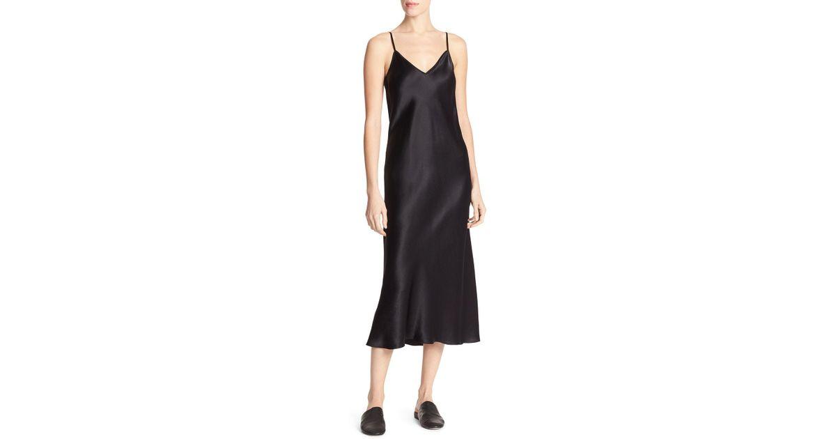 f8643575ecc Vince Bias-cut Satin V-neck Midi-length Slip Dress in Black - Lyst