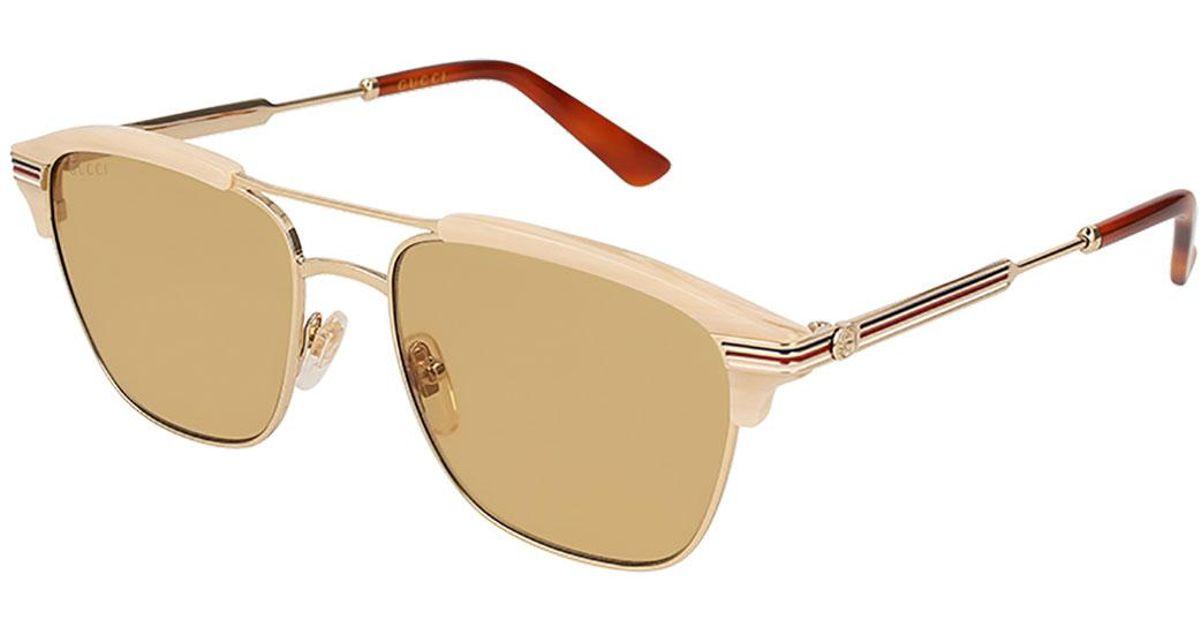 e70198c8518 Lyst - Gucci Retro Square Aviator Sunglasses in Metallic