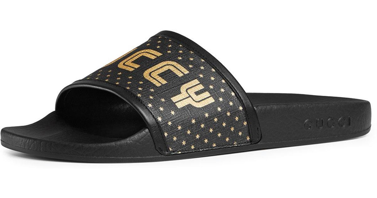 78e0a52ff Gucci Guccy Pool Slide Sandals in Black - Lyst