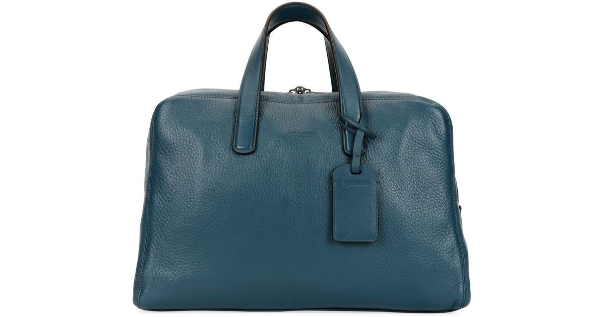 dbe4c1f6bdca Lyst - Giorgio Armani Men s Deer Leather Carryall Duffel Bag in Blue for Men