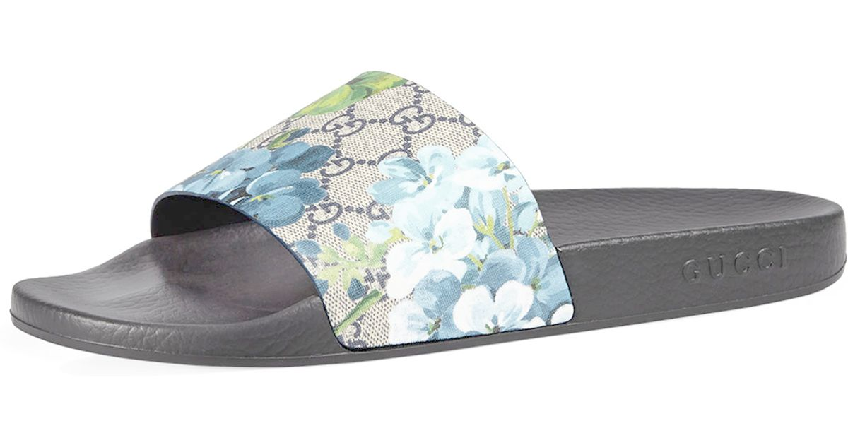 db4706de3db Lyst - Gucci Pursuit Gg Blooms Canvas Sandal in Blue for Men