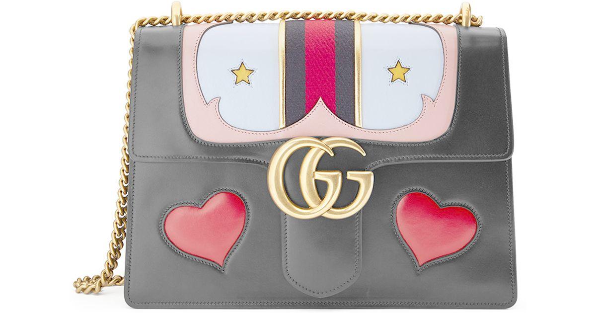 657c1ca0731f Gucci Gg Marmont Medium Web Heart Shoulder Bag - Lyst