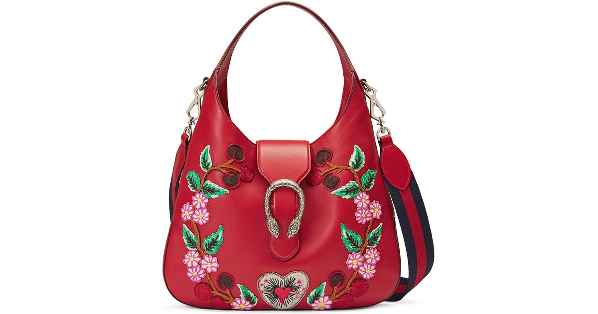 8c034337ed17 Gucci Dionysus Medium Embroidered-Flowers Hobo Bag in Red - Lyst