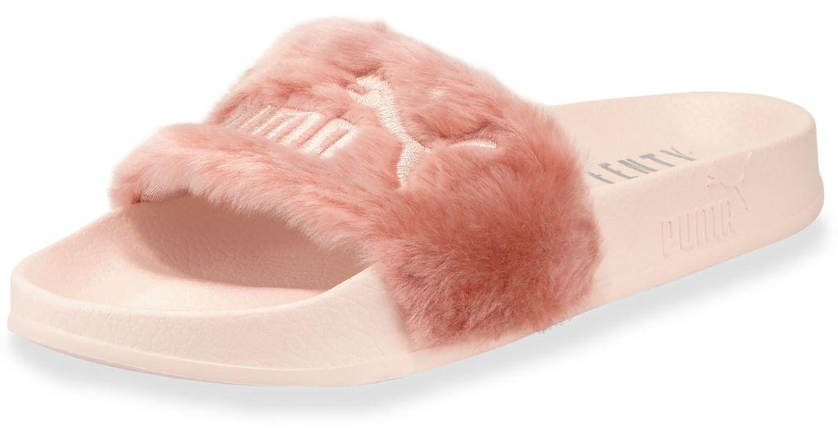 Lyst - PUMA Leadcat Fenty Faux-fur Slide Sandal in Pink dd424215156b