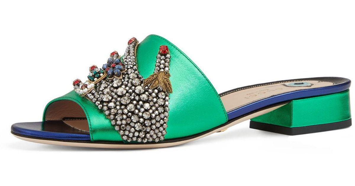 dbbd4f1164ca Lyst - Gucci Wangy Jeweled Mule Slide in Green