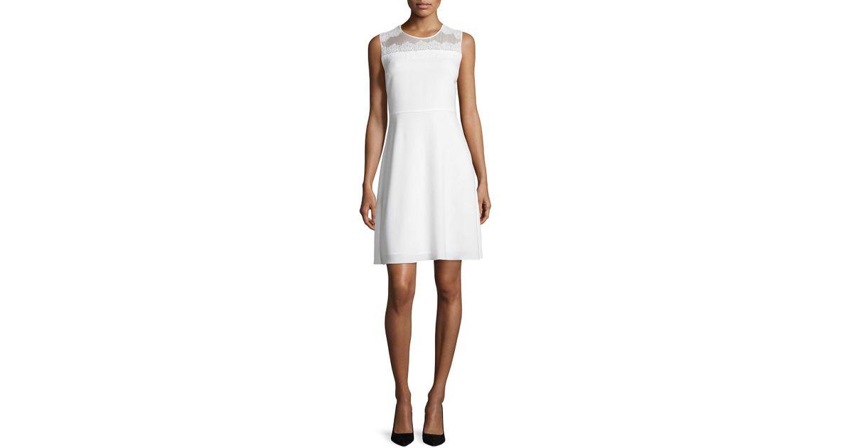 678d9347 Lyst - Elie Tahari Bevin Sleeveless Lace-yoke Dress in White