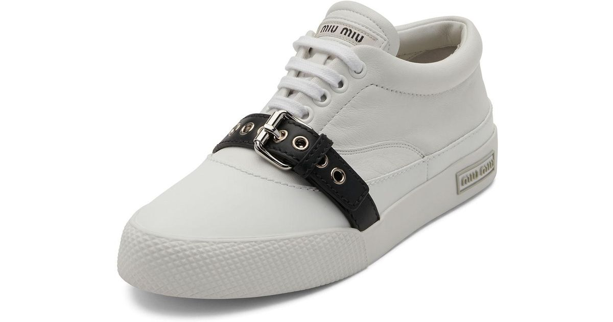 Women's White Buckled Leather Low-top Sneaker