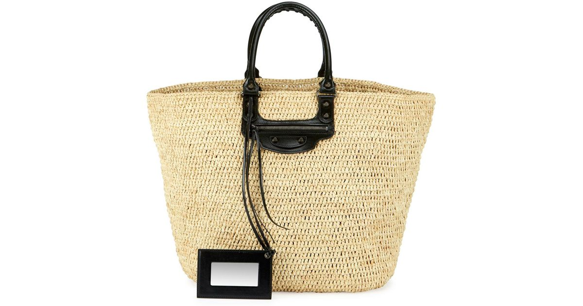 Women's Natural Panier Large Leather & Raffia Tote Bag