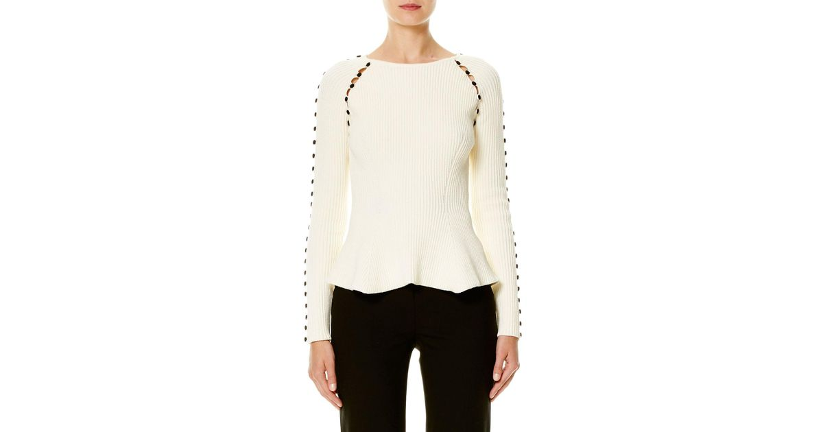 Women's White Button-trim Peplum Sweater