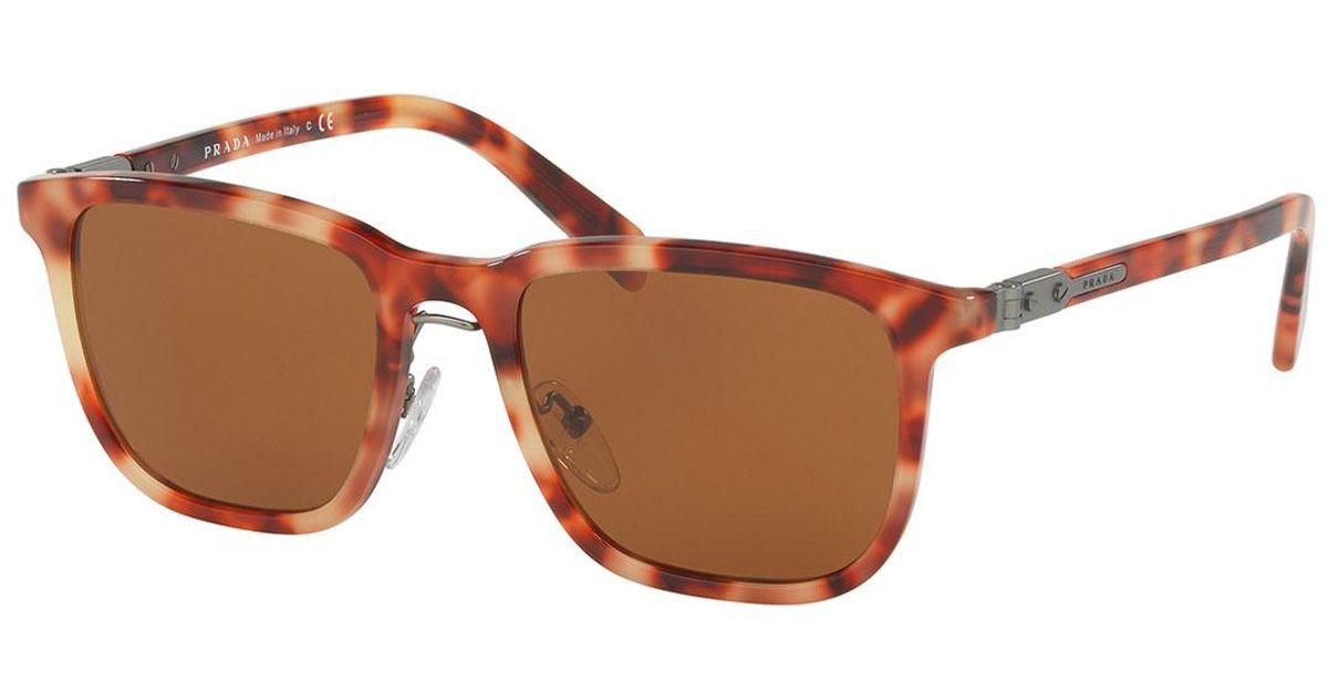 c29319351db Lyst - Prada Redux Men s Square Acetate Sunglasses in Red for Men