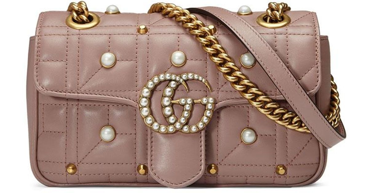 dd7d69192a43 Gucci Gg Marmont 2.0 Pearly Quilted Mini Bag - Lyst