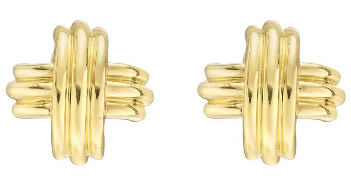 Lyst Tiffany Co Large 18k Yellow Gold Signature X Earrings In