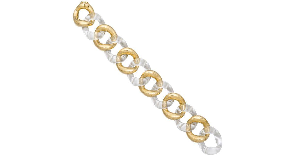 072d84e224a Seaman Schepps - Metallic Medium 18k Gold & Rock Crystal Link Bracelet -  Lyst