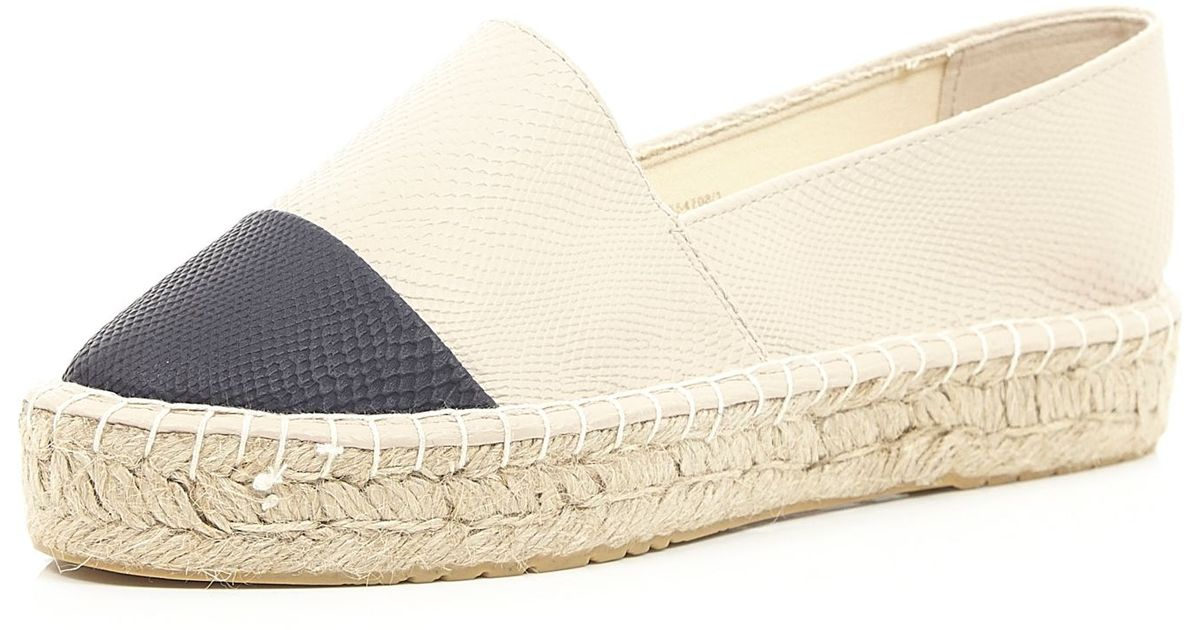78c70a0a6db86 River Island Cream Black Toe Flatform Espadrilles in Natural - Lyst