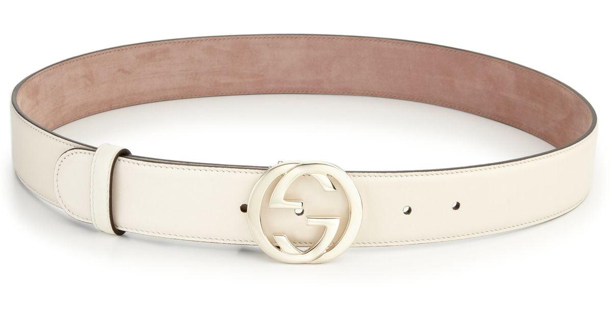 Gucci Interlocking G Leather Belt in White | Lyst