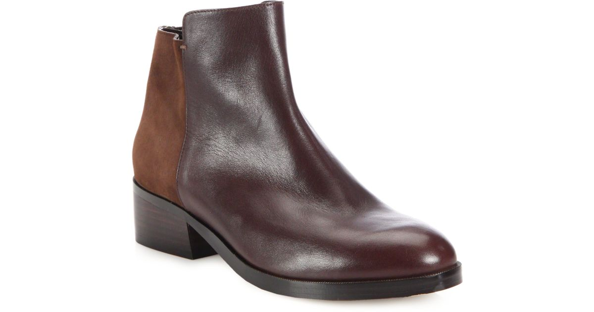 cole haan elion leather suede ankle boots in brown lyst