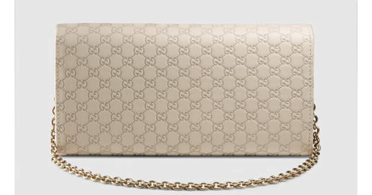 52b2e699ba87a3 Gucci Microguccissima Leather Chain Wallet in White - Lyst