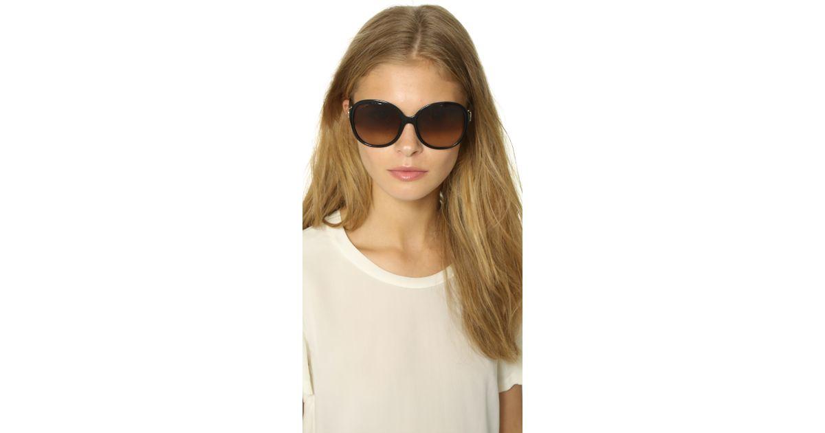 5c75eb0da1e Lyst - Ferragamo Round Gancio Sunglasses in Black