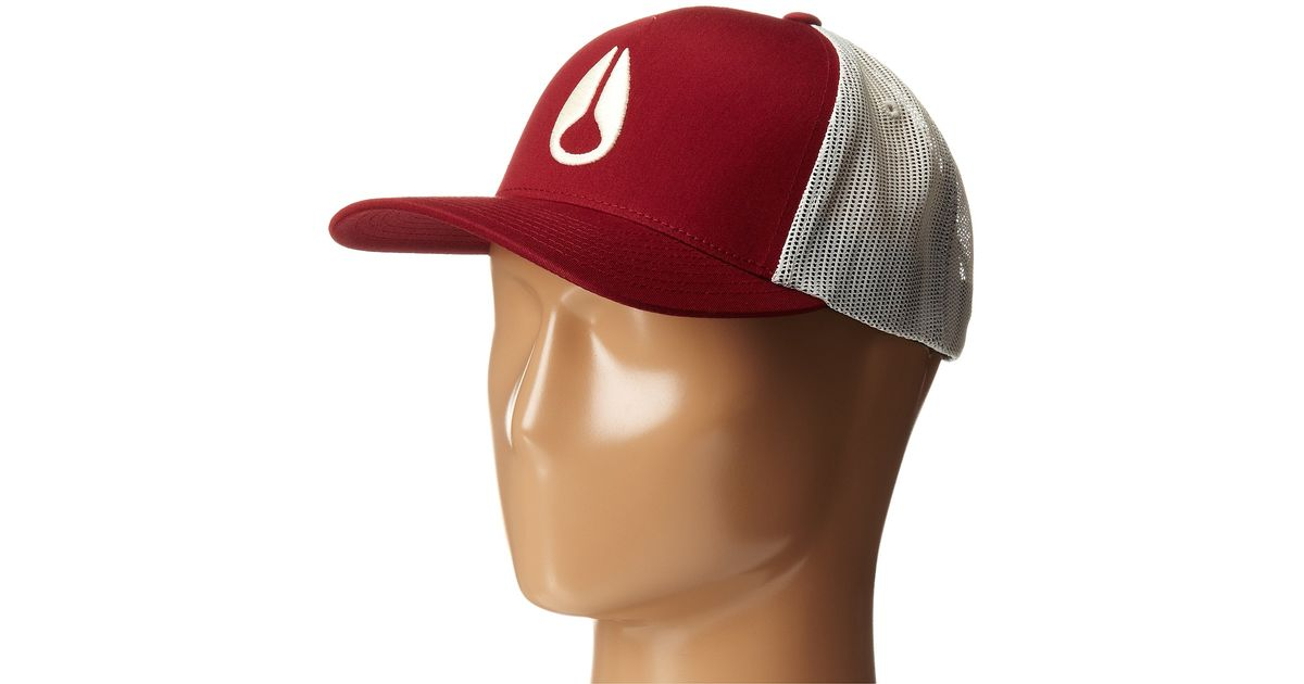 Lyst - Nixon Iconed Trucker Hat in Red fe95ddf8e32