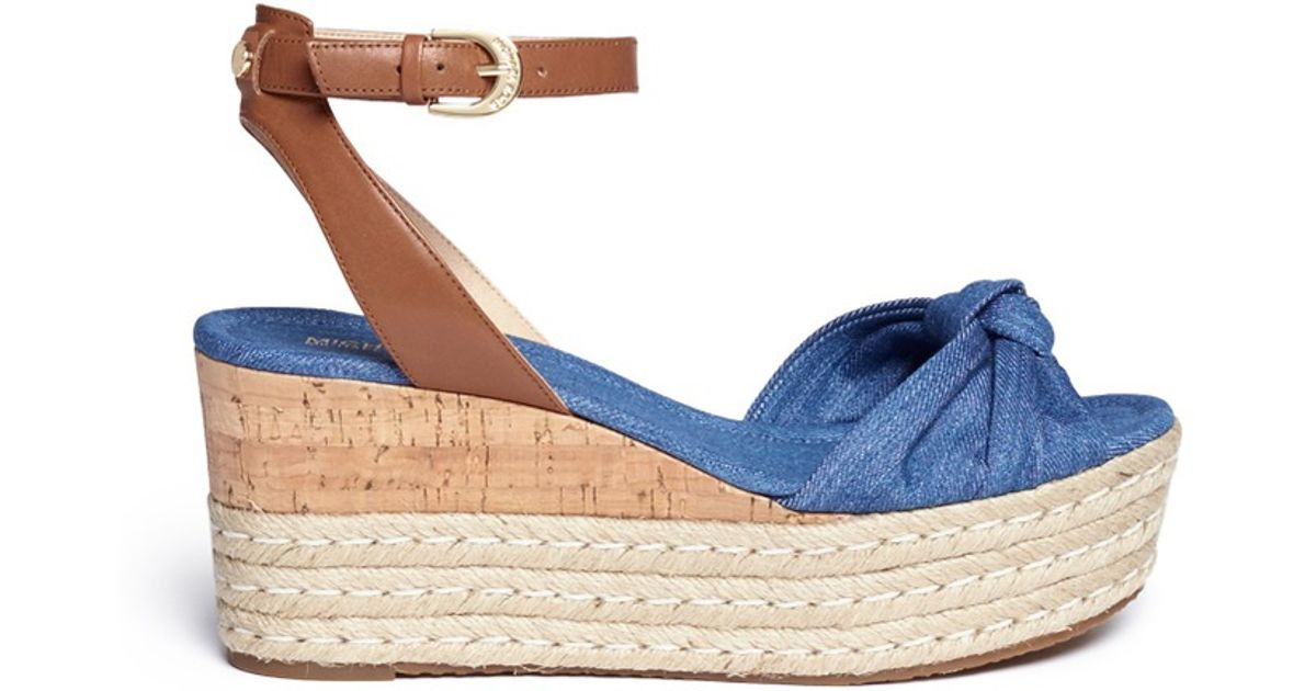 1bf772d84 Lyst - Michael Kors  maxwell  Denim Cork Wedge Espadrille Platform Sandals  in Blue