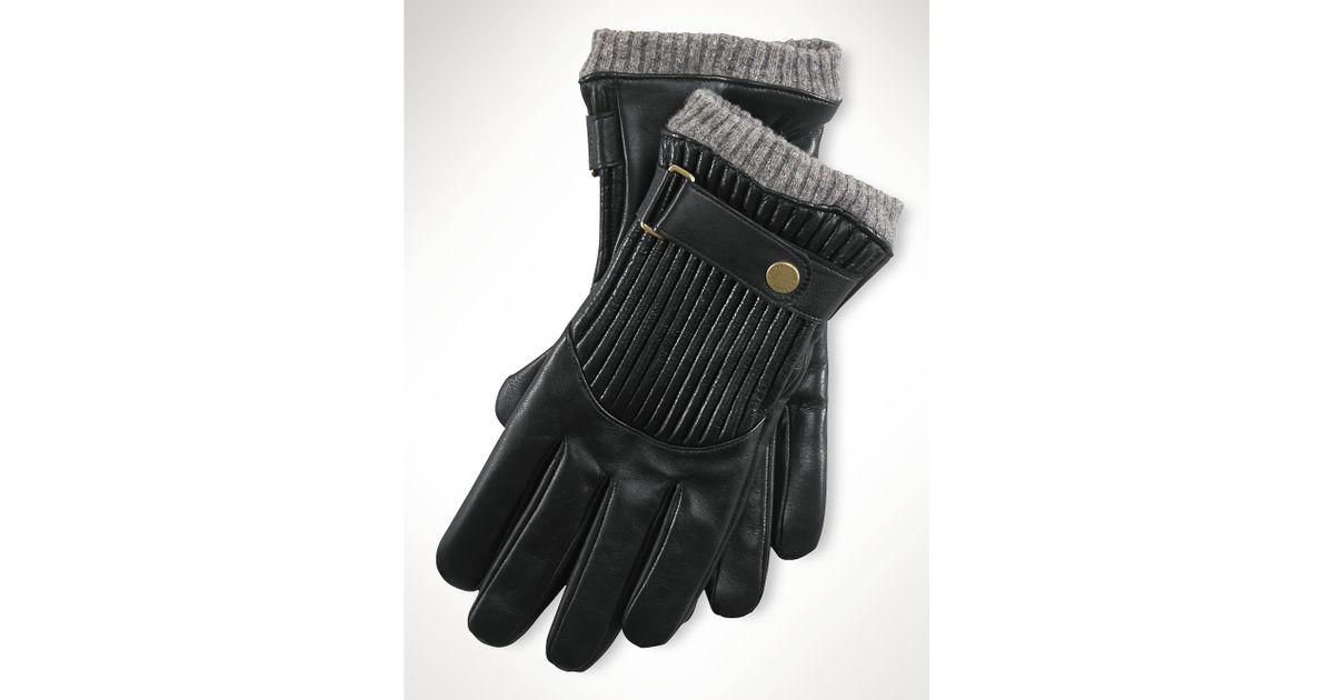 Ralph lauren Quilted Racing Gloves in Black | Lyst : quilted racing gloves - Adamdwight.com