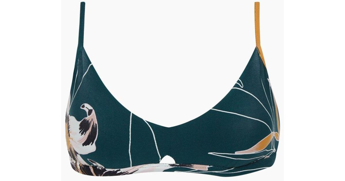 859e614c353a9 Seafolly Aralia Front Cut Out Bikini Top - Emerald Floral Print in Blue -  Lyst