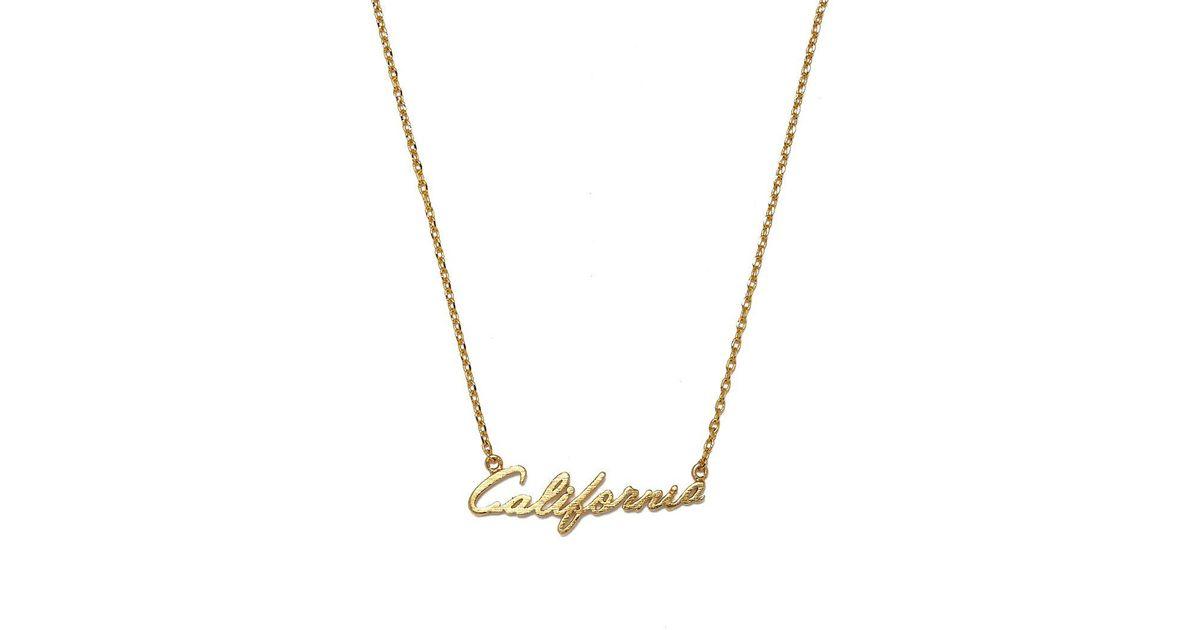 Lyst jewel cult california script pendant necklace in metallic aloadofball Choice Image
