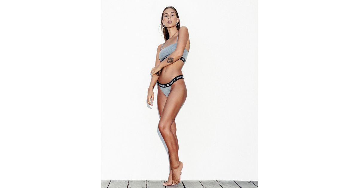 ffc8820d38eaaa Lyst - Billabong Legacy Strappy Tank Bikini Top in Gray - Save 72%