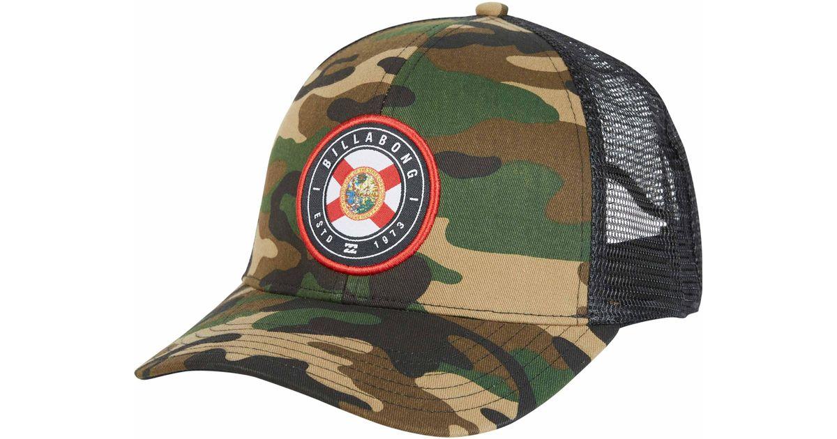70da2b85650fb ... canada lyst billabong native rotor camo trucker hat in green for men  ce133 8eeda