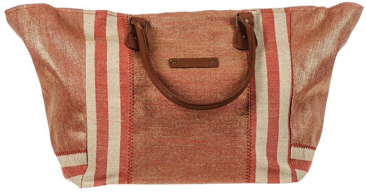 Paros Red and Gold Hessian Beach Tote Bag mGqE9ba