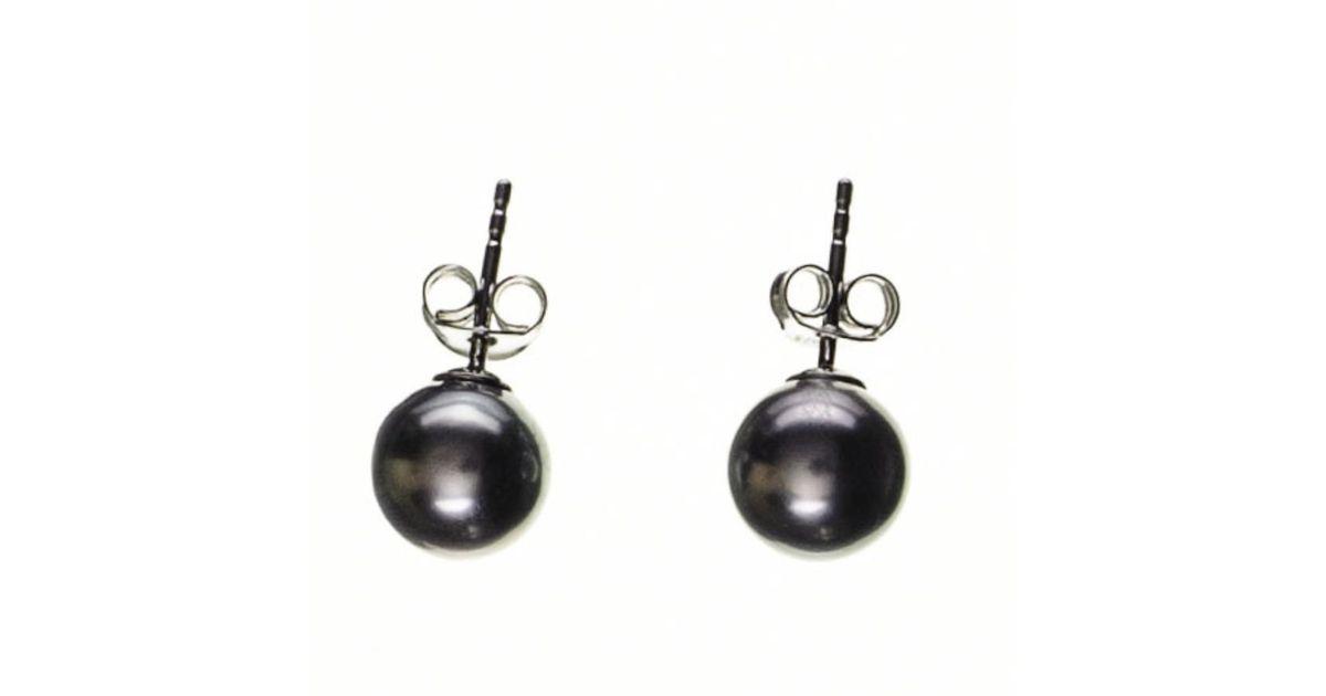 Uk Ania Tahitian Black Pearl Ear Studs