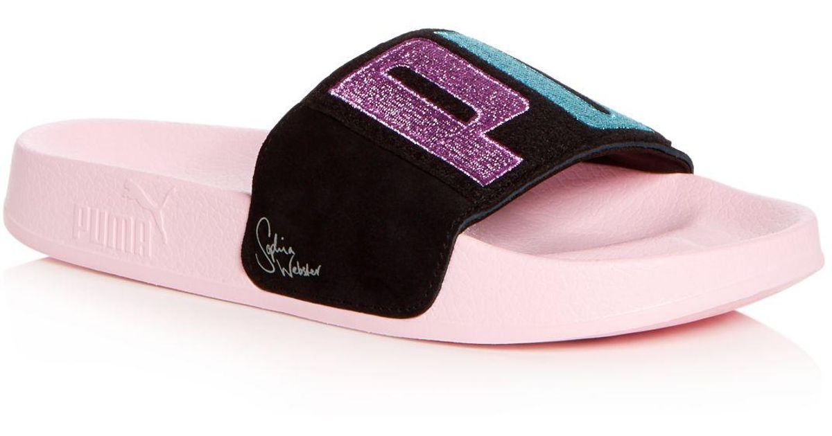 482530e5bb6a Lyst - PUMA X Sophia Webster Women s Leadcat Embroidered Suede Pool Slide  Sandals in Pink