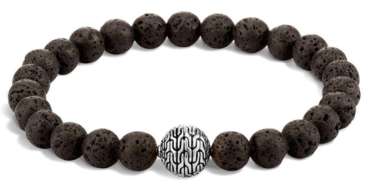 John Hardy Mens Classic Chain Boulder Opal & Onyx Bead Bracelet TWs4qXM16z