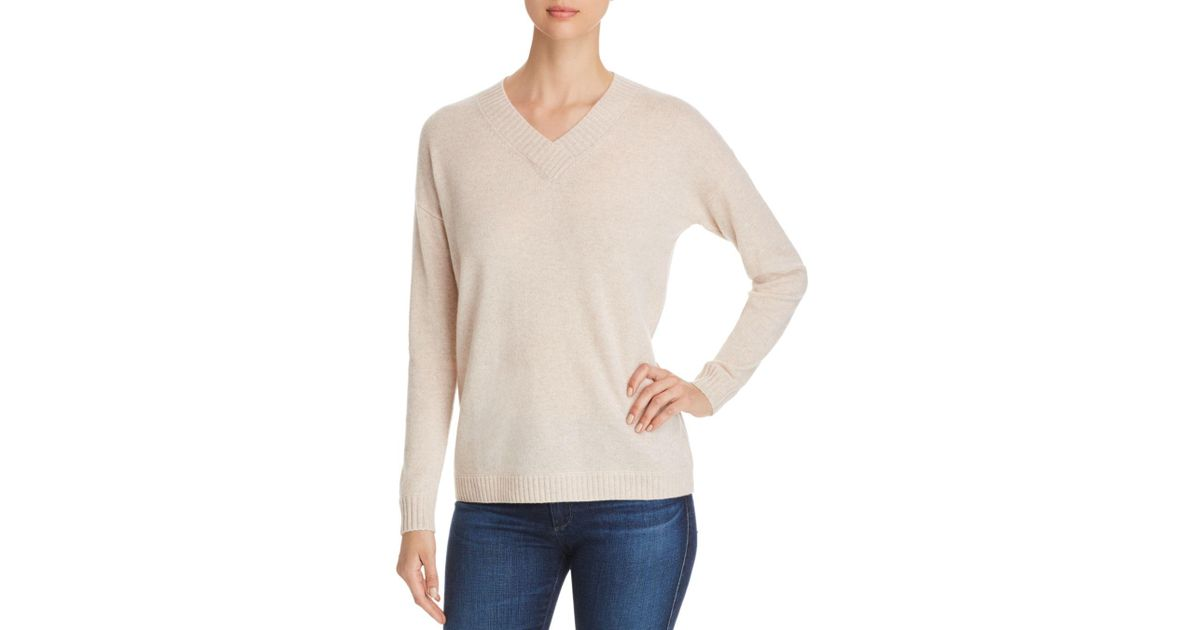 Lyst - C By Bloomingdale s Drop-shoulder Cashmere Sweater in Natural 5f5582e36