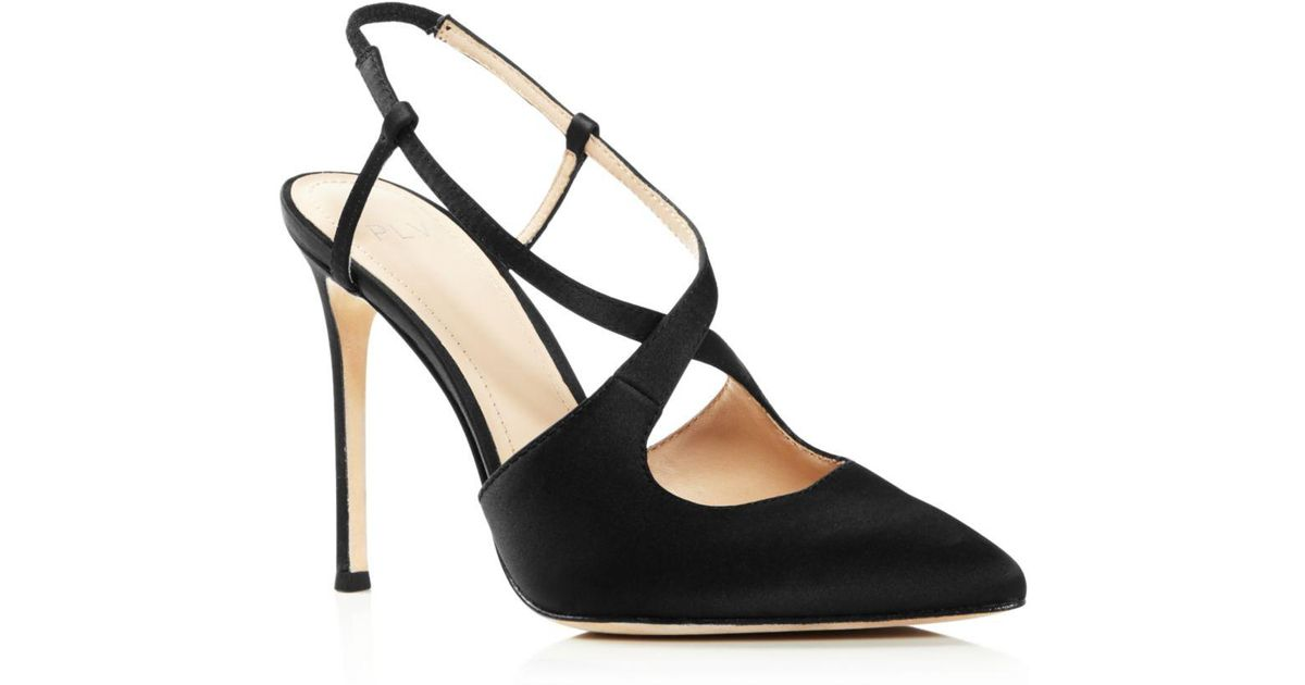 Pour La Victoire Black Women's Cerry Pointed Toe Satin Slingback High heel Pumps Lyst