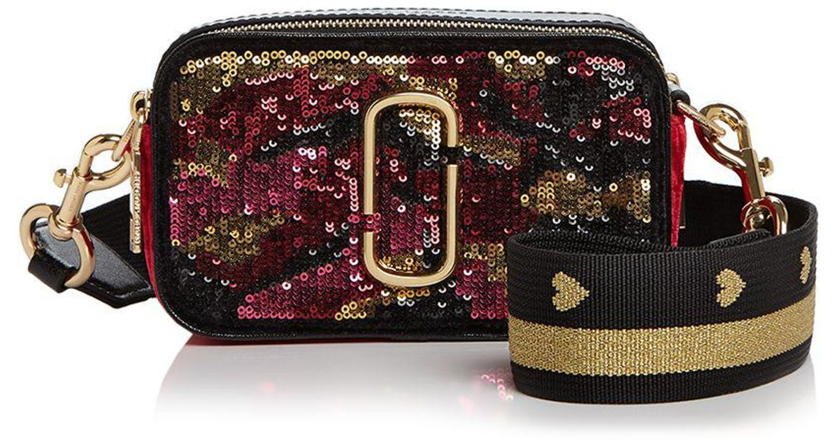 0692b406d2f5 Lyst - Marc Jacobs Snapshot Camo Sequin Leather Camera Bag