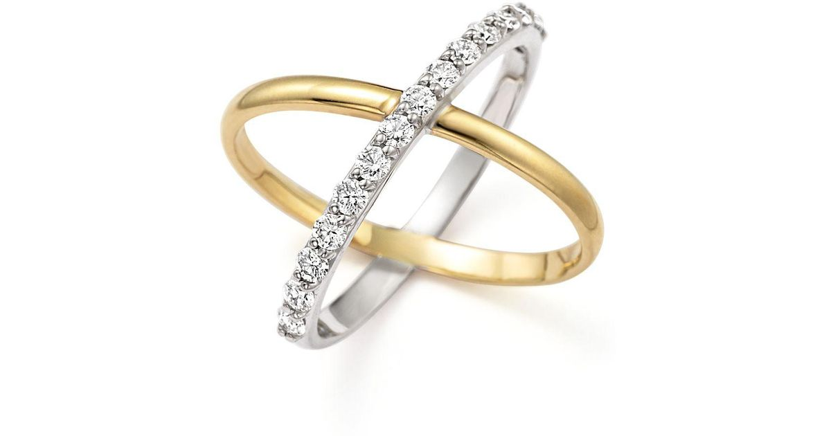 """Lyst Kc designs Diamond """"x"""" Ring In 14k Yellow And White Gold in"""