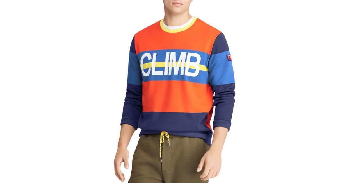 Lyst - Polo Ralph Lauren Hi Tech Double-knit Sweatshirt in Orange for Men 3dfb303e0932