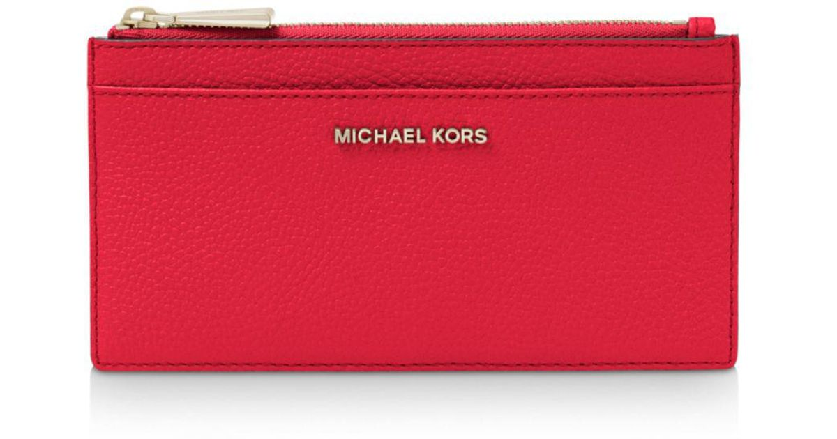 c238ccd8e075 MICHAEL Michael Kors Money Pieces Large Slim Leather Card Case in Red - Lyst