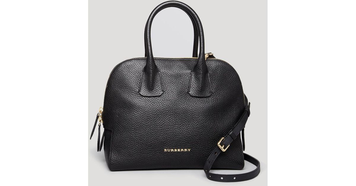 396a4f7bb7 Burberry Satchel - London Grainy Leather Small Greenwood Bowling in Black -  Lyst