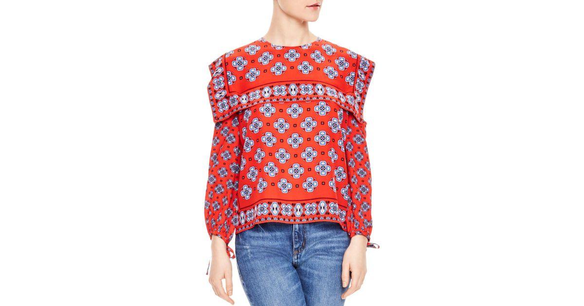17e3b84a0a967 Lyst - Sandro Dalla Cold-shoulder Mosaic-print Silk Top in Red