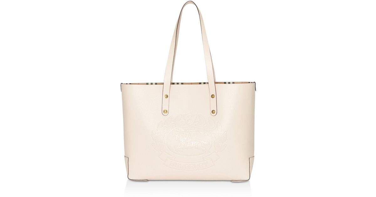 7f6e7465f958 Lyst - Burberry Small Embossed Crest Leather Tote