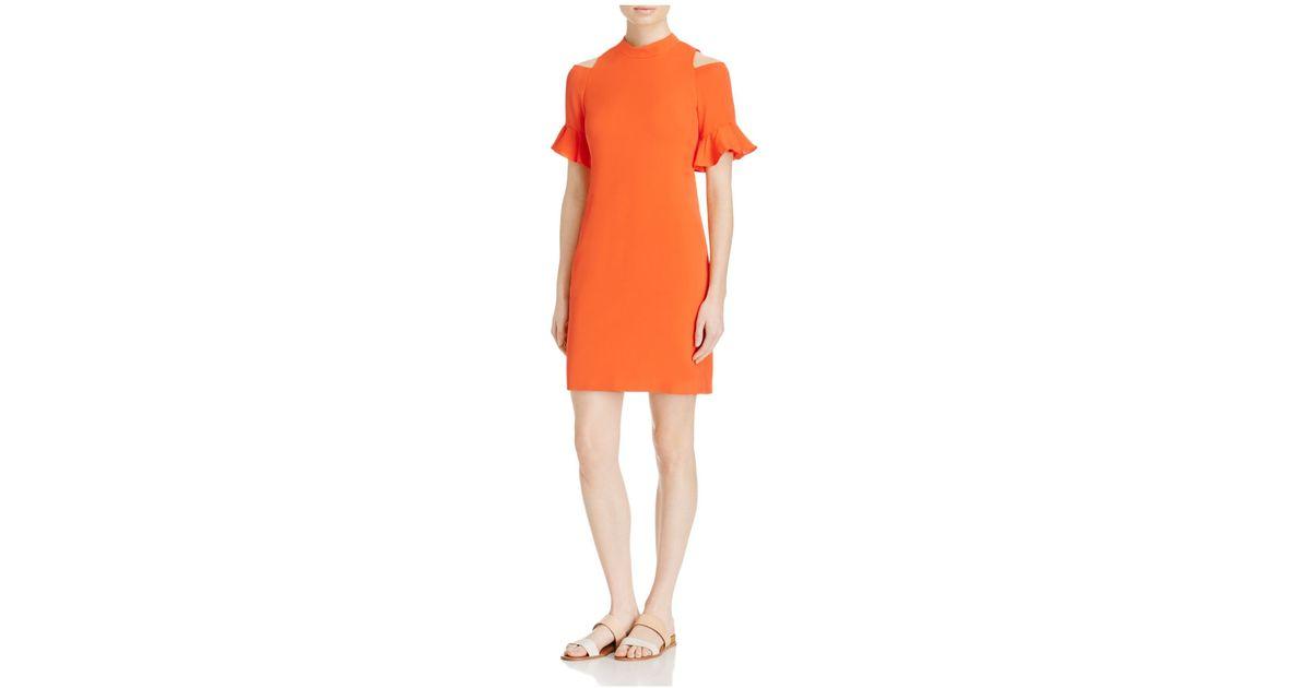 Rebecca taylor ruffled cold shoulder dress in orange koi for Koi fish dress